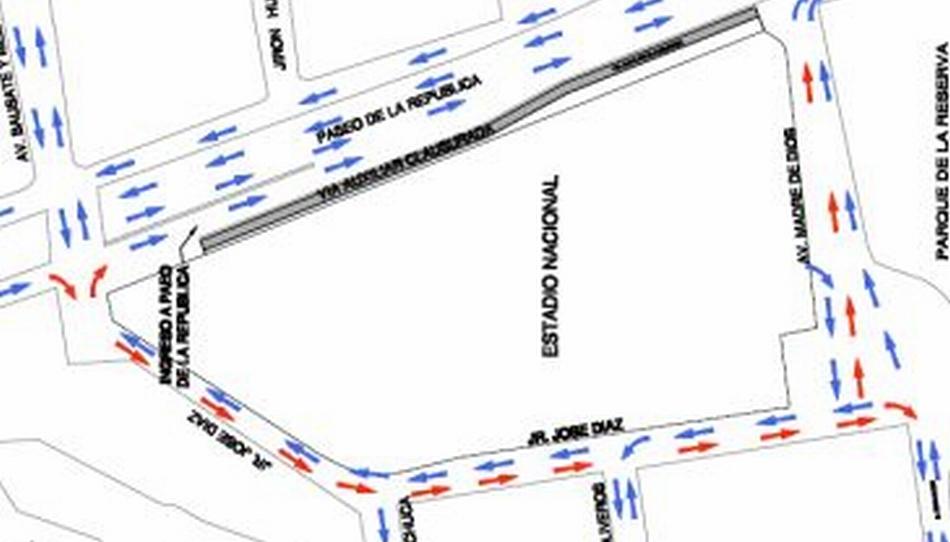 Vía auxiliar de Paseo de la República será cerrada por obras en el Estadio Nacional