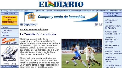"""El triunfo de la 'U' es considerado en Bolivia como una """"maldición"""" ante los equipos peruanos"""