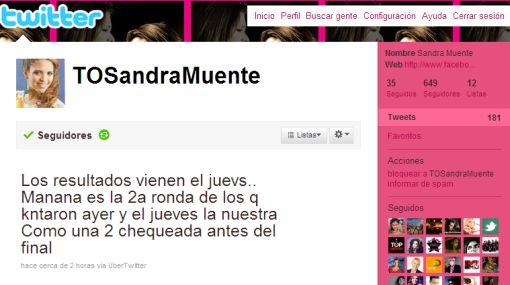"""Sandra Muente agradeció vía Twitter las """"buenas vibras"""" de sus seguidores"""