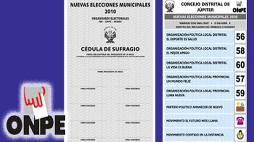 ONPE presentó cédula de sufragio para las Nuevas Elecciones Municipales 2010