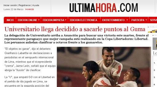 """Universitario llega decidido a sacarle puntos al Guma"", destacan en Paraguay"