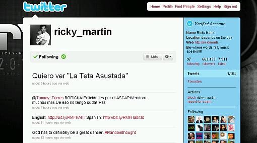"""Ricky Martin en su cuenta de Twitter: """"Quiero ver La teta asustada"""""""