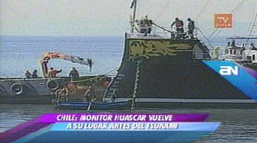 El monitor Huáscar volvió al puerto chileno de Talcahuano tras resistir el devastador tsunami