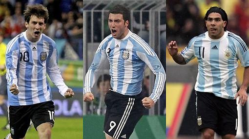 Ataque letal: Argentina ensaya con Messi, Tevez e Higuaín para el Mundial