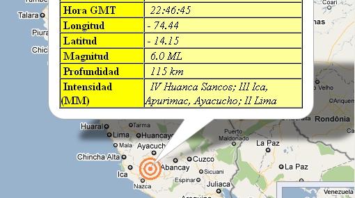 Un sismo de 6 grados remeció esta tarde a Lima y las ciudades del sur del país