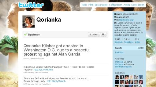 Q'orianka Kilcher fue arrestada en Washington por protestar contra Alan García