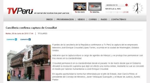 Noticiero del canal de TV del Estado no emitió ampliación sobre la captura de Crousillat