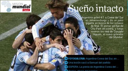 La prensa argentina celebra la goleada a Corea del Sur y la virtual clasificación