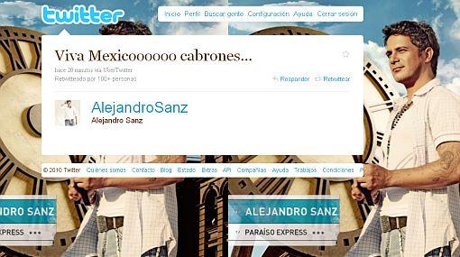"""Alejandro Sanz celebró en Twitter la victoria azteca: """"Viva México, cabrones"""""""