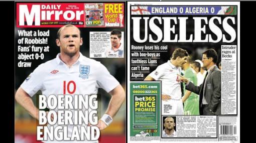 La prensa inglesa criticó sin compasión a Wayne Rooney y compañía