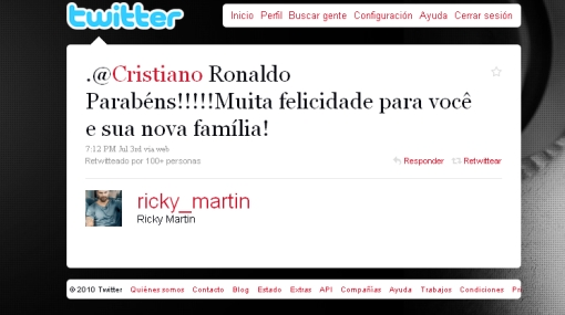 "Ricky Martin felicitó a Cristiano Ronaldo en Twitter por ""su nueva familia"""