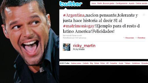 Ricky Martin celebró en Twitter la aprobación del matrimonio homosexual en Argentina