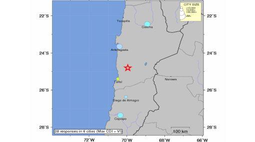 Sismo de 5,7 grados sacudió a región chilena de Antofagasta esta madrugada