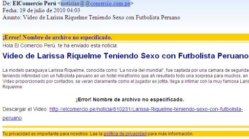 Tenga cuidado: supuesto video de Larissa Riquelme y futbolista peruano es spam
