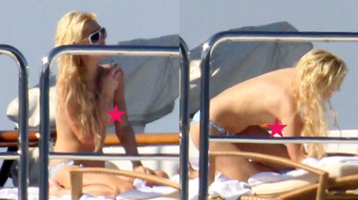 Paris Hilton, captada en 'topless' en isla italiana