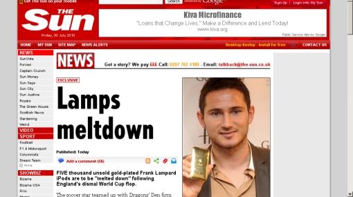 iPods bañados en oro de la línea de Frank Lampard serán derretidos