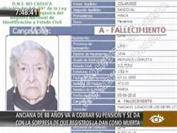 Anciana fue dada por muerta en la ONP y no cobra pensión