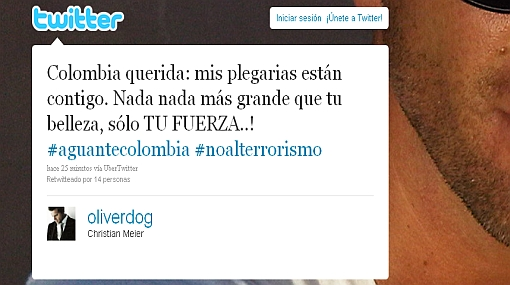 Artistas se solidarizan vía Twitter con las víctimas del atentado a Caracol