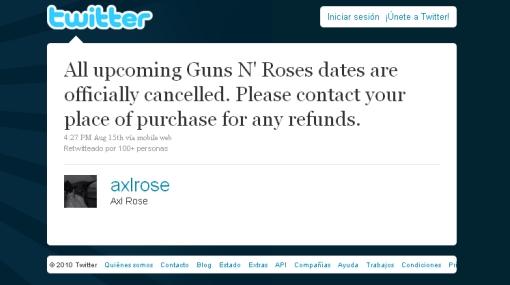 Hackearon la cuenta de Twitter de Axl Rose