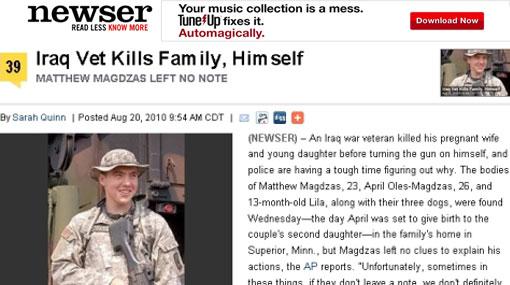Combatiente de la Guerra de Iraq mató a su esposa embarazada, a su hija y luego se suicidó