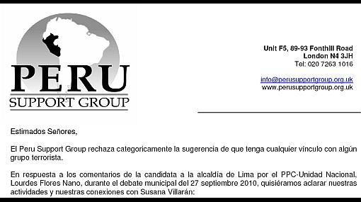 Peru Support Group respondió a Lourdes Flores por acusación contra Susana Villarán