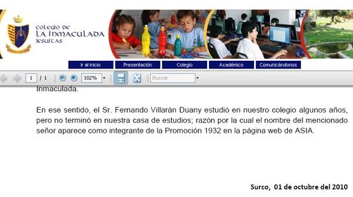 Papá de Susana Villarán sí estudió pero no terminó en el colegio Inmaculada, aclaró centro educativo
