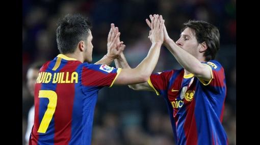 Dobletes de Lionel Messi y David Villa le dan triunfo al Barcelona
