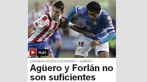 Acasiete frenó al 'Kun' Agüero: Almería le robó un empate al Atlético de Madrid