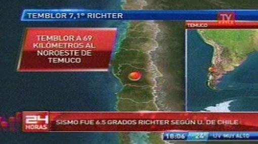 Un sismo de 7,1 grados sacudió regiones del sur de Chile