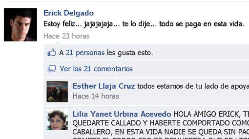 Erick Delgado negó que Facebook donde aparece mensaje para Nataniel sea suyo