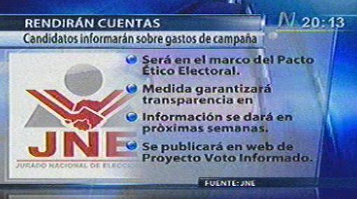 """JNE: """"Candidatos deben cumplir con informar sobre sus gastos"""""""