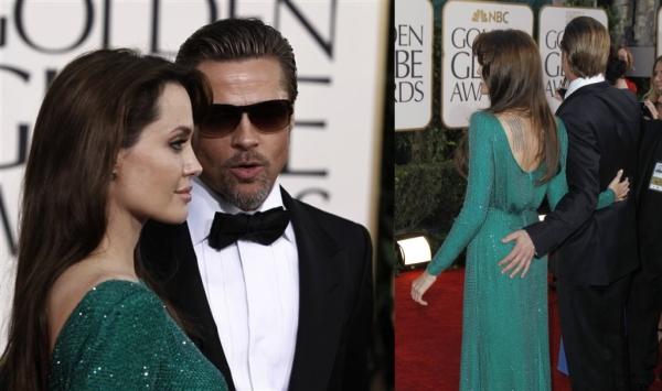 Un pícaro Brad Pitt le dio una desenfadada caricia a Angelina Jolie