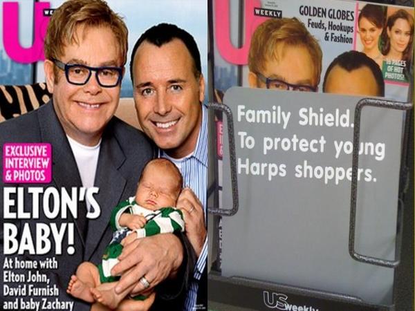 En supermercado de EE.UU. censuran portada de revista con la familia de Elton John