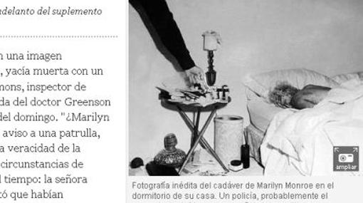 Esta foto sería del cadáver de Marilyn Monroe en el dormitorio de su casa
