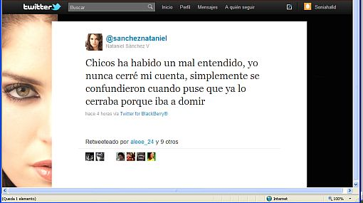 'Tuit' de Nataniel Sánchez preocupó a sus seguidores en Twitter