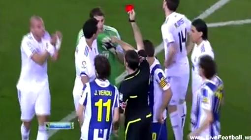 Casillas vio la roja a los dos minutos en la tercera expulsión de su vida