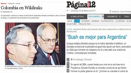 Diarios de Colombia y Argentina también revelan cables de Wikileaks