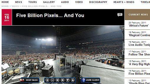 U2 publicó foto de 360 grados de un concierto en Sudáfrica