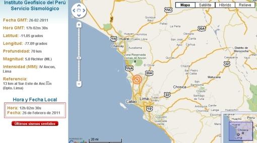 Sismo de 5,0 grados en la escala de Richter se sintió en Lima