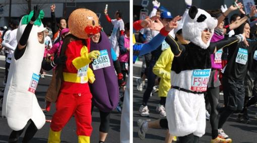 Cientos de personas corrieron disfrazadas en la Maratón de Tokio