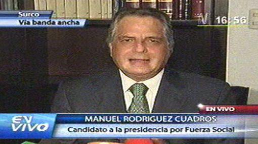 Manuel Rodríguez Cuadros renunció a su candidatura presidencial