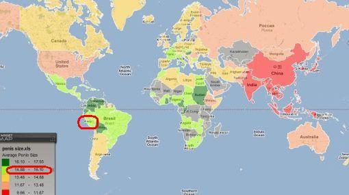 Este mapa indica los tamaños del pene en el mundo