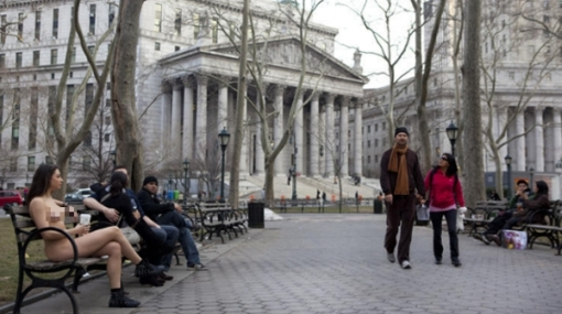 FOTOS: fotógrafa se exhibió desnuda en las frías calles de Nueva York