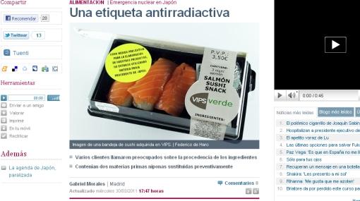 Venden pescado con etiquetas antirradiactivas en España