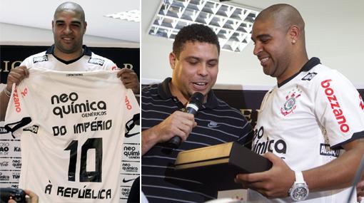 Adriano fue presentado por Ronaldo en el Corinthians