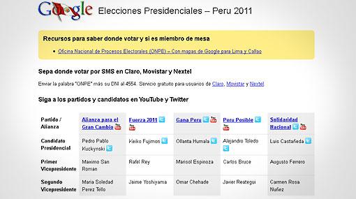 Google lanzó una página con información sobre las elecciones peruanas