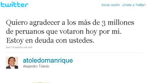 """Toledo por Twitter: """"Estoy en deuda con ustedes"""""""