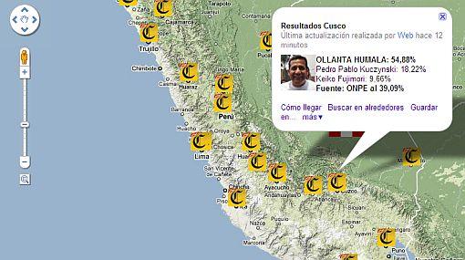 MAPA ELECTORAL: Ollanta se impuso en el sur y Keiko ganó en el norte