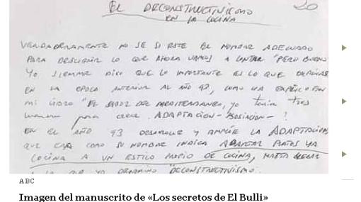 """Subastarán el manuscrito de Ferrán Adrià sobre """"Los secretos de El Bulli"""""""