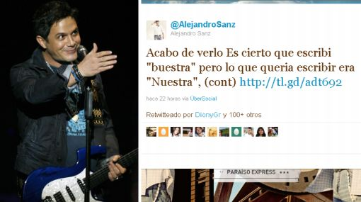 Alejandro Sanz aceptó su error ortográfico y no se irá de Twitter